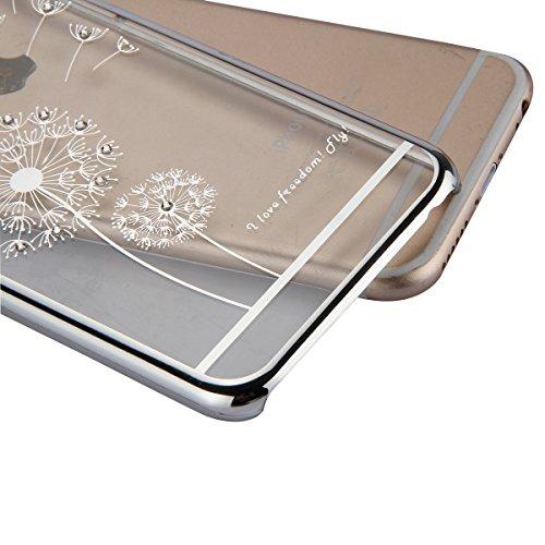 JAWSEU Coque pour iPhone 6 Plus/6S Plus 5.5,Apple iPhone 6S Etsui Housse en Silicone Glitter,iPhone 6 Housse Ultra Mince Transparent Flexible Souple Coque Cas Soft Gel Protective Case Luxe Élégant Fem argent/Pissenlit