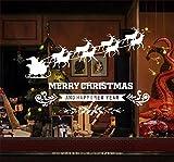 Emwel 2 Stück Weihnachtsdeko Merry Christmas Schaufensterdekoration Weihnachtssticker Wandaufkleber Fenster Aufkleber Engel Elch Weihnachten Xmas Vinyl Fensterbilder Aufkleber Dekoration (Elch)