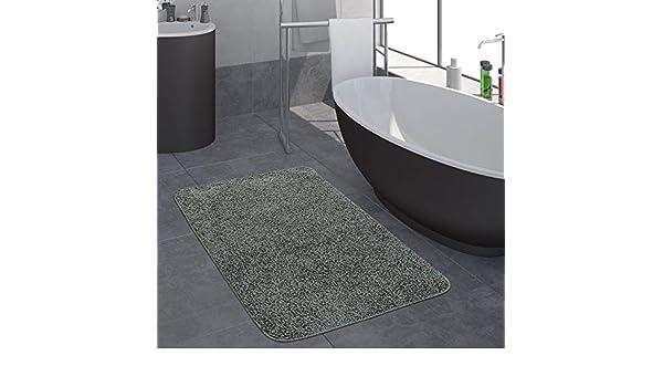 Paco Home Moderner Hochflor Badezimmer Teppich Einfarbig Badematte rutschfest In Beige Gr/össe:40x55 cm