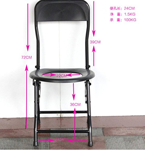 Persone anziane seduta WC semplice sedia pieghevole sedile sedia WC accovacciare di bambini donne incinte Servizi igienici WC , 02 with a back style