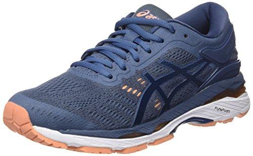 ASICS Damen Gel-Kayano 24 Laufschuhe, Blau (Smoke Dark Blue/canteloupe 5649), 41.5 EU - Frauen Schuhe Kayano Asics