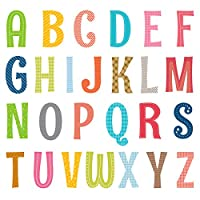 DECOWALL Uppercase Alphabet ABC with Pictures Kids Wall Stickers Wall Decals Peel and Stick Removable Wall Stickers for Kids Nursery Bedroom Living Room (1701 1701S 1701A 8023)