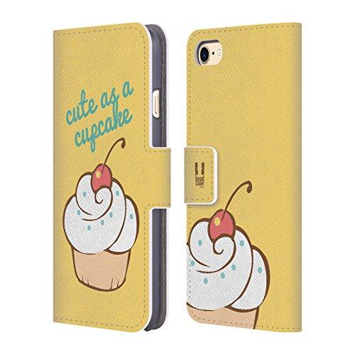 Head Case Designs Regenbogen Cupcake Freude Brieftasche Handyhülle aus Leder für Apple iPhone 6 / 6s Sweet And Cute