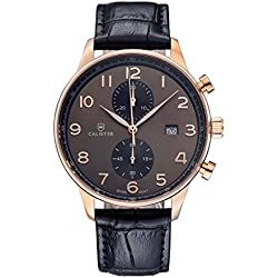 Calister VERN004 Swiss Chrono Men's Watch, Analogue, Leather Bracelet, Black