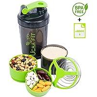 Protein Shaker - Botella mezcladora de proteína fitness UchaFit. Botella portable para el gimnasio con capacidad de 600 ml, libre de químicos BPA, ingenioso diseño dividido en 3 niveles y contenedor a prueba de fugas que te permite mezclar suplementos sobre la marcha.