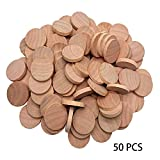 czos88 50 Pièces DIY Bois Tranches 3cmx0.5cm, en Bois Puce Bois Rond Pièces en Bois...