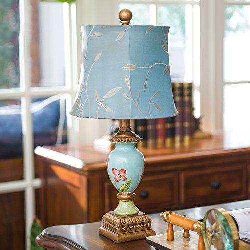 HYNH Amerikanische Kreative Tischlampe Schlafzimmer Nachttischlampen, im europäischen Stil Retro Wohnzimmer Study Tischlampe Hochzeitshotel Kinder Tischlampe (Farbe : Blau)