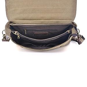 51Qwcbzp8HL. SS300  - Gootium 30825KA - Bolso Mensajero De Cuero, Maletín de estilo Vintage, Bolso Para Laptop de 14 Pulgadas, Caqui