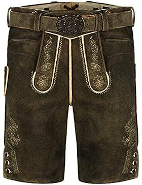 ALMBOCK Trachtenhose mit Gürtel | kurze Lederhose Wildbock 100% Made in Germany | Lederhose Herren Tracht antik...