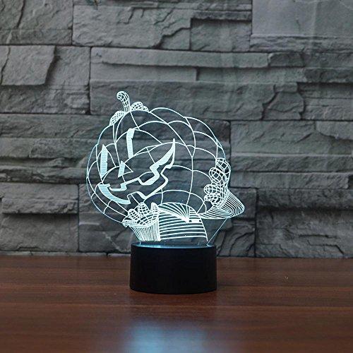 ZY&ZQ Nachtlicht Ambiente Licht Halloween Kürbis 3D-Vision Licht LED Stereo-Licht Festival Geschenke