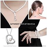 VIKI LYNN Damen Kette Hochzeitstag Perlenkette Perlen Halskette mama Geschenkideen in 3 Tragevarianten mit 7-8mm Süßwasserzuchtperlen und Sterling silber 925 - 4