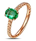 Epinki 18K Gold Damen Ringe Weizen Diamantring Antragsringe Rose Gold mit Grün Smaragd Gr.62 (19.7)