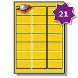 21 Par Feuille, 5 Feuilles, 105 Étiquettes. Label Planet® Étiquettes jaunes colorées A4 sur papier blanc mat pour impression jet d'encre et laser 63.5 x 38.1mm, LP21/63 CY.