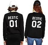 Best Friends Pullover Für Zwei Mädchen Damen Sister Sweatshirt BFF Beste Freundin Pullis Teenager Schwarz Hoodie Buchstaben Bestie Geschenk 2 Stücke(Schwarz,bestie-01-M+bestie-02-M)