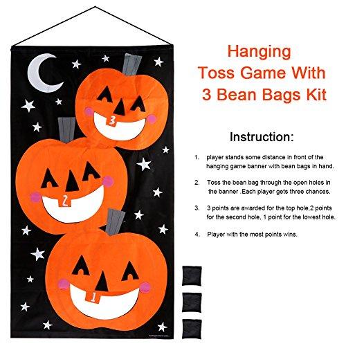 AerWo Halloween Kürbis Spiel Hängende Art Kürbis Bohnenbeutel Toss Spiel + 3 Bohnenbeutel, Halloween Party Cornhole Party Spiele für Kinder und Erwachsene 76X138cm - 2