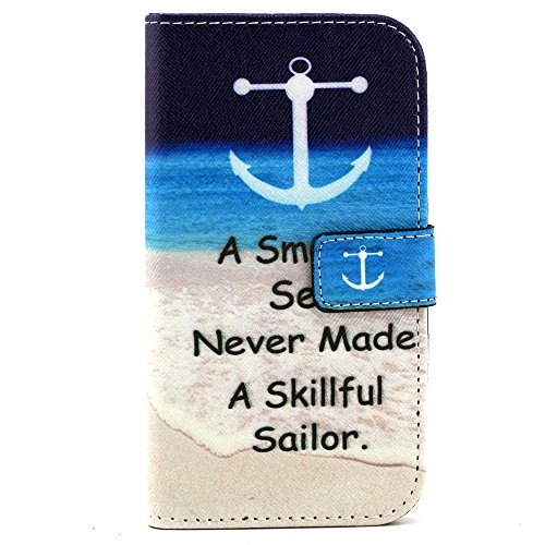 Coque pour LG G4C, LG G4c Housse Etui, LG G4c Portefeuille Cuir Coque Folio Etui, LG G4C Wallet PU Leather Case Silicone Case Flip Cover, Ukayfe Protecteur Housse de Protection Étui Coque Magnetic Fli Blue Anchor
