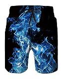 Fanient Costume da Bagno da Uomo Stampa 3D Modello da Fuoco Costume da Bagno Quick Dry Pantaloncini da Bagno Estivi con Fodera in Mesh
