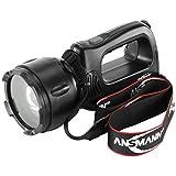ANSMANN Arbeitsleuchte LED HSL 1 mit 3 W inkl Tragegurt, Li-Ion Akku, Ladestation & Wechselstecker - Fokussierbare LED Handlampe als Werkstattlampe Arbeitslampe Handleuchte Taschenlampe Werkstatt IP54