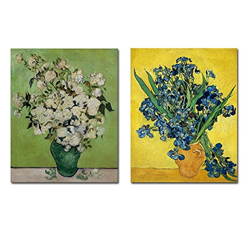 Wieco Art Irises in a Vase Floral Giclee Canvas Prints of Classic Van Gogh Oil Paintings Artwork Modern Canvas Wall Art by Wieco Art
