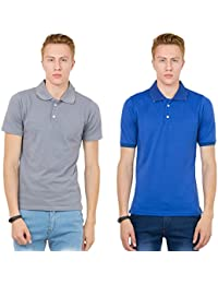 Thriller Frog Solid Men's Polo Neck Metalic Grey And Blue T-Shirt