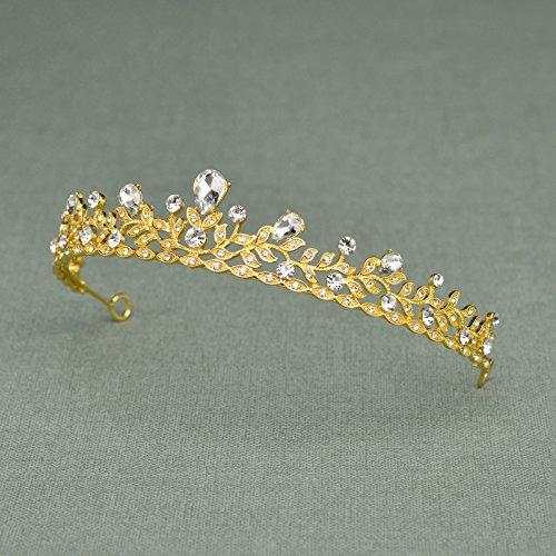 SWEETV Princesa Real Boda Fiesta Prom Tiara Diadema Corona Cristal Nupcial Tocado, Dorado