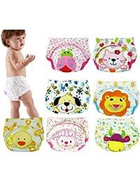 1,3,4,5,7 pieza del bebé de las bragas -algodón lavable elástico pañales para bebés pantalones del pañal de la ropa interior, el color al azar