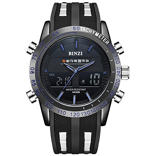 Digital Sport Uhren,Outdoor wasserdichte Armbanduhr mit Wecker Chronograph und Countdown Uhr LED Licht Gummi Schwarz Anzeige Digitaluhren