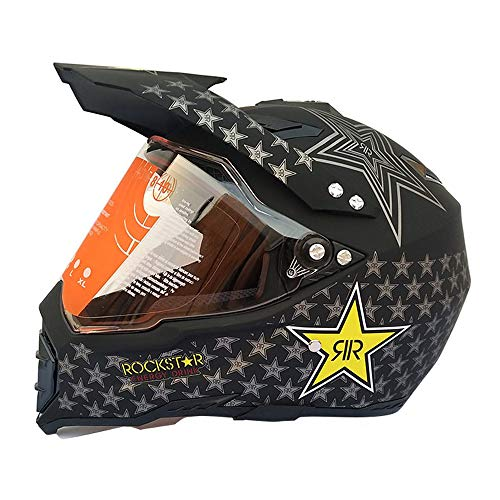 MRDEAR Casco da Motocross Nero, Casco MTB Integrale Donna Uomo con Visiera, Casco Moto Cross Adulto off-Road Downhill Race ATV Scooter, Certificazione D.O.T, Rockstar,L