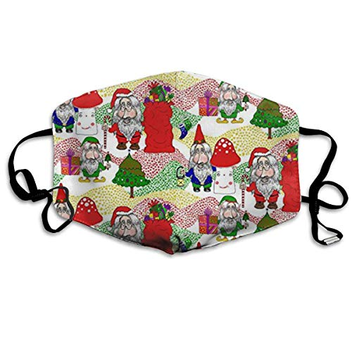 Christmas Santa, Gnome and Elf Pieces Cotton Mouth Masks with Nose Bridge Wire, Black Anti-dust Face Mask for Women and Men
