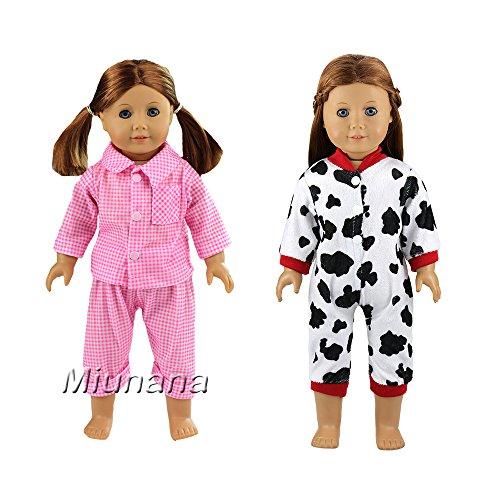 Doll Schlafanzug Passenden (Miunana 2 Sets Kleidung Hosen Schlafanzug Rosa für 46-50 cm Puppe 18 Inch Doll Puppen American Girl Stehpuppen)