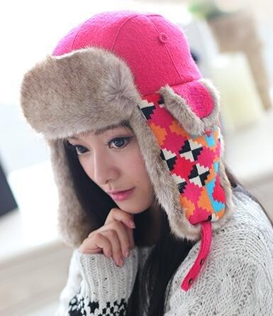 Women Fur Russian Trapper Earflap Hat Peruvian Winter Hat Ski Hunting