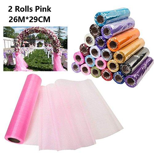 Dproptel - 2 rouleaux d'organza - 26 m x 29 cm - Pour chemins de table, dossiers de chaises, nœuds, ornements, travaux manuels, emballages cadeaux, célébrations, décorations de mariage rose