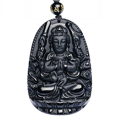 Collar con colgante de Buda Bodhisattva; amuleto, talismán.  Hecho con gemas de obsidiana.