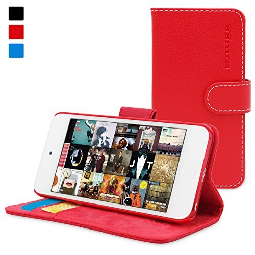 Snugg iPod 5th/6th Generation Case - Flip Cover & Lifetime Guarantee (Red Leather) for Apple iPod Touch 5th/6th Generation