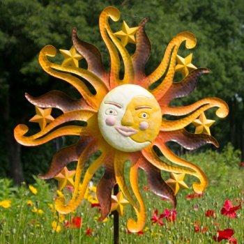 En métal grand style coloré fan avec typographie intéressant sunface aUTUMN-résistant aux intempéries, peint à la main-moulin : diamètre : 55 cm-profondeur : 12 cm hauteur totale : 160–avec standstab cm
