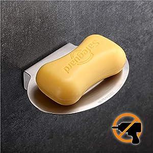 Wangel Jabonera, Pegamento Patentado + Autoadhesivo, Aluminio y Plástico ABS, Acabado Cromado, Contador, Fregadero, Cuarto de Baño