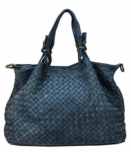 BZNA Rene Bag Blau blue Italy Designer Damen Handtasche Schultertasche Tasche Schafsleder Shopper Neu