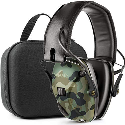 awesafe Gehörschutz für Schießstand, Elektronischer Gehörschutz für Schlagsport [Kommt mit Hard Travel Lagerung Tragetasche], Gehörschutz, NRR 22 dB, Ideal für Schützen und Hunting -