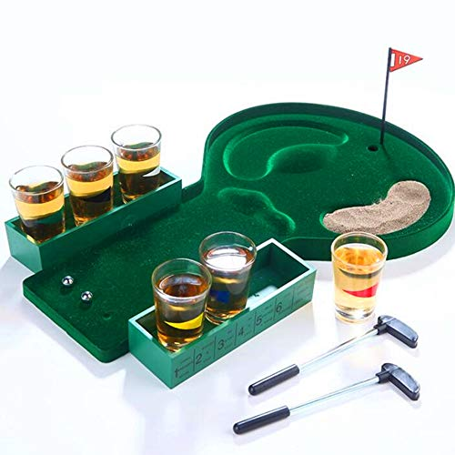Desktop Mini Golf Drinking Club Bar Game + Glass Cups Shot Putter Miniature Kit, Bar Game Mini Golf Promotional Wine Bar Counter Toys -
