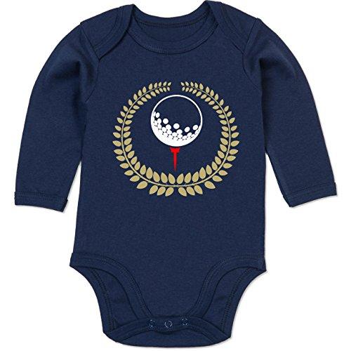 Sport Baby - Lorbeerkanz Golfball Golf-Tee - 12-18 Monate - Navy Blau - BZ30 - Baby Body Langarm