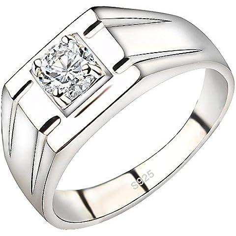 Weeno 925plata de ley para hombre lujo imitación de diamantes boda de moda banda anillo de tamaño O a U