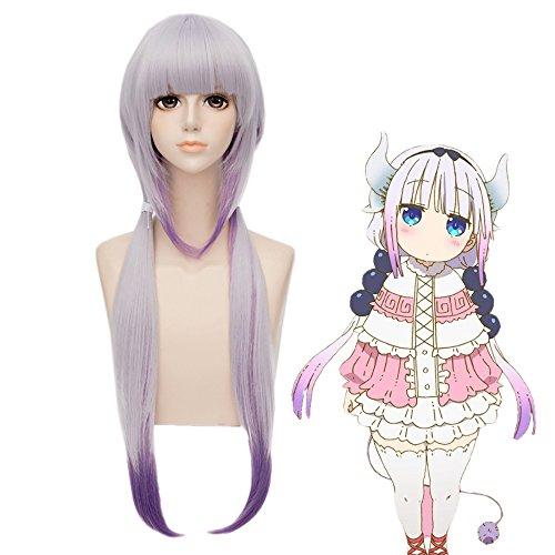 Halloween 8 Für Kostüme Personen (Mufly Anime Lila Glatt Perücke Cosplay Lang Kunsthaar Perücke mit Pony Weihnachten Kostüme Anime Halloween Perücke für)