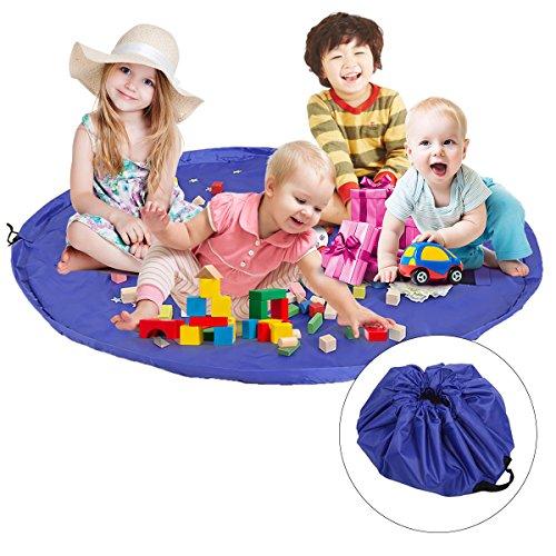 TedGem Spielzeug Aufbewahrungsbeutel, große Kinder Lego Spiel Mat Strand Matte, Baby Tidy Tasche, Kinder Teppich Spielzeug Organizer Drawstring Tasche (60Zoll) (Strand-taschen-teppich)