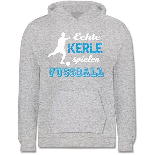 erle Spielen Fußball - 12-13 Jahre (152) - Grau meliert - JH001K - Kinder Hoodie ()