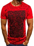 OZONEE Herren T-Shirt mit Motiv Print Kurzarm Rundhals Figurbetont O/1173 Rot S