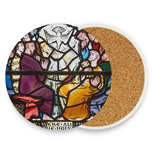 ersetzer, Glasmalerei, rund, saugfähig, Keramik, Stein, Kaffeetassenmatten für Zuhause, Büro, Bar, Küche (Set von 1 Stück), keramik, multi, 1 Stück ()