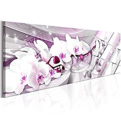 Bilder 135x45 cm Format! Fertig Aufgespannt TOP Vlies Leinwand - Abstrakt Wand Bild Kunstdrucke Wandbild b-B-0144-b-d Orchidee Blumen Abstrakt B&D