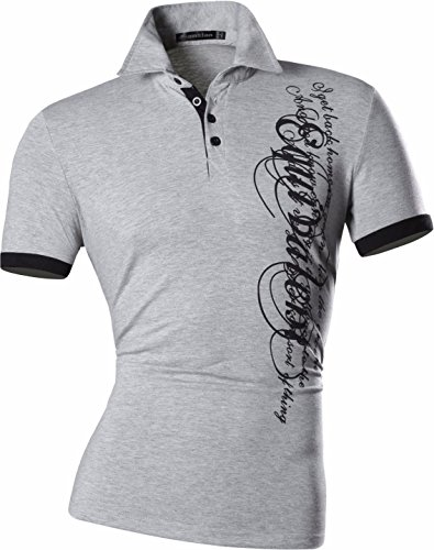 jeansian Herren Freizeit Slim Fit Short Sleeves Casual POLO T-Shirts U009 D403_Gary