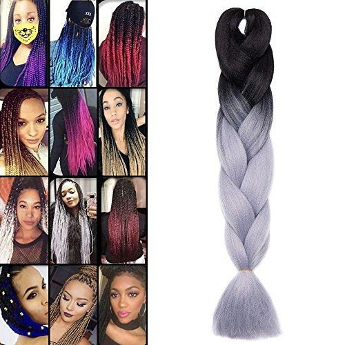 Extension treccine kanekalon braids trecce ombre per capelli braiding hair treccia finta una ciocca 100g, due tonalità 28# nero a grigio argento