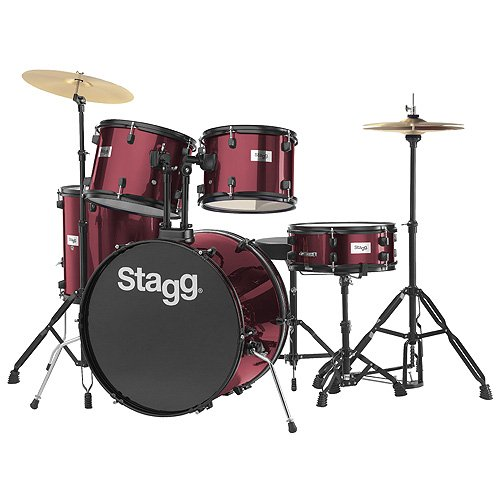 stagg-25020589-tim122b-drum-set-5588-cm-22-zoll-5-stuck-inkl-hardware-mit-cymbal-throne-weinrot